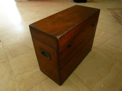 Rare Antique Mahogany Large Wooden Box Inlay Brass Carry Handles Storage Display