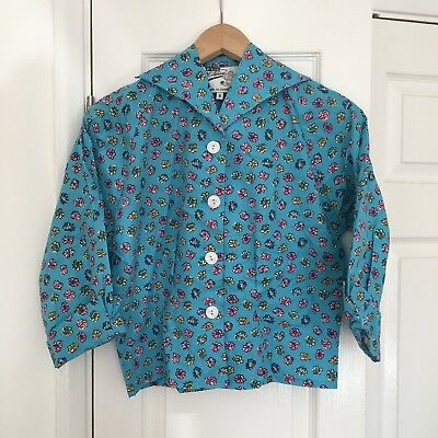 Vivien Of Holloway Vintage Style Turquoise Floral Raglan Blouse, Small