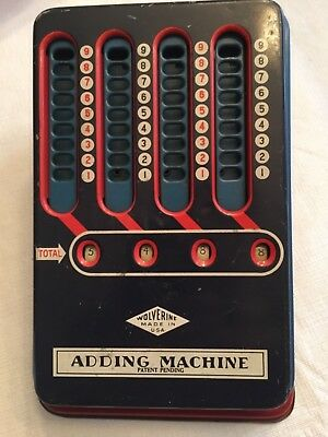 1940s Mechanical Adding Machine Wolverine Vintage Pull Dial Hand Calculator