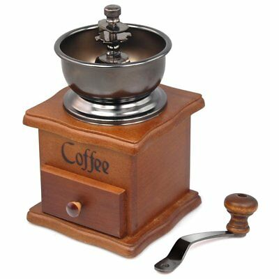 Manual Coffee Bean Grinder Vintage Style Wooden Hand Coffee Retro Burr Mill