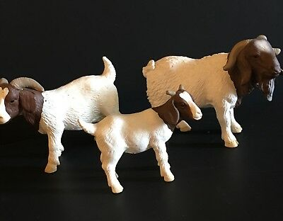 Schleich BOER GOAT KID, NANNY, DOE, BILLY, BUCK FAMILY RARE & RETIRED lot of 3