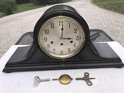 1925 Antique Junghans German Mantel Clock Working Camel Back with Chimes
