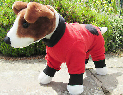 Fleece Onsie Dog Coat/jacket/Pyjamas/PJ's. Elasticated. Red with black heart