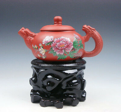 YiXing Zisha Clay Flower Blossoms Teapot w/ Dragon Spout Handle 175ML FREE STAND