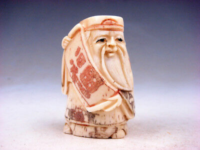Bone Detailed Hand Carved Japan Netsuke Sculpture Old Man FU Scroll #03031801