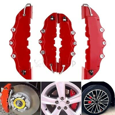 2PCS Fit For Car Wheel Brake Caliper Cover Front Rear Dust Resist Protector Red