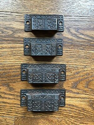 Vintage Metal Drawer Pulls Ornate Library Cabinet Drawer Floral Handles Hardware