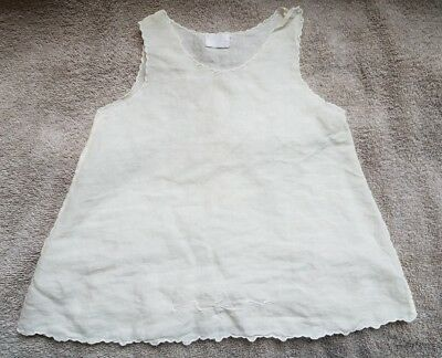 Vintage 1950's Infant/Toddler Girls Pinnafore Embroidered Cream Sheer Dress