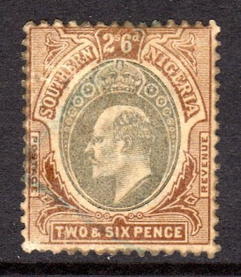 Southern Nigeria KEVII  1903-04 (Wmk CA) 2s6d Grey Black & Brown SG17 Used