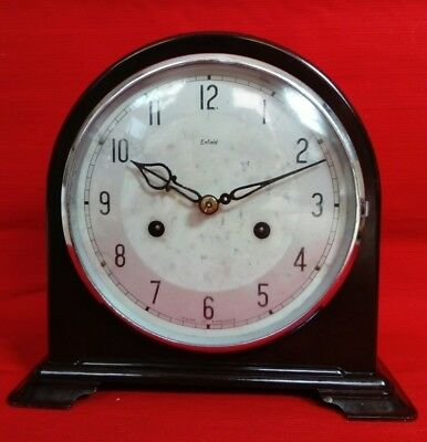 Enfield Bakelite Clock Co. Art Deco Dome Mantel Clock, Pendulum Striking Working