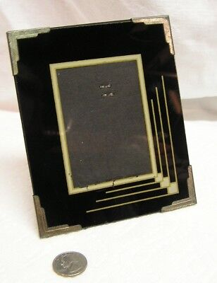 Vintage Art Deco Black, Silver & Gold Reverse Painted Glass Picture Frame *