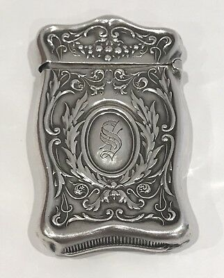 Antique Ornate Art Nouveau Sterling Silver Vesta Match Case Rare