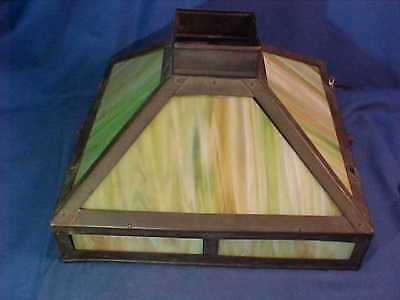 1920s ARTS + CRAFTS Style GREEN Swirl SLAG GLASS Hanging LIGHT SHADE