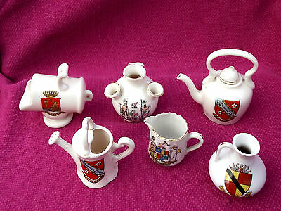 * CREST WARE * 6 VARIOUS CRESTED CHINA * 4 GEMMA & 2 UNmarked *