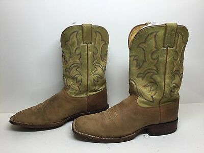 Vtg Mens Justin Square Toe Cowboy Suede Leather Light Brown Boots Size 11 D
