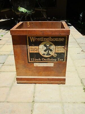 Westinghouse Fan Shipping Crate Wooden Box for 12 Inch Oscillating Fan w/Label