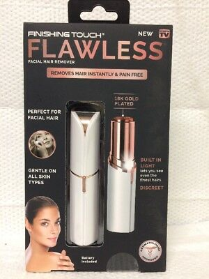 Finishing Touch Flawless Facial Hair Remover Instant Pain Free 18K Gold Plated