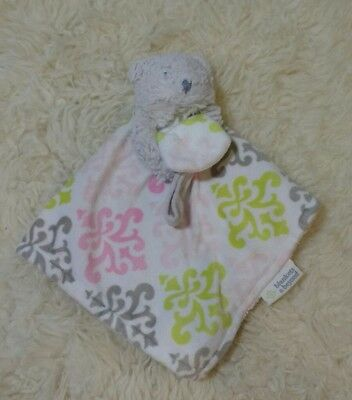Blankets and Beyond Bear Plush LOVEY Pacifier Holder Pink White Security Blanket