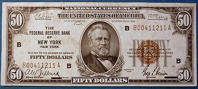 1929 $50 Federal Reserve Bank Note ~ Brown Seal ~ Bank of New York F-1880B