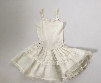 50s Vintage Girls Full Slip Petticoat 6 White Nylon Lace Crinoline  Dress
