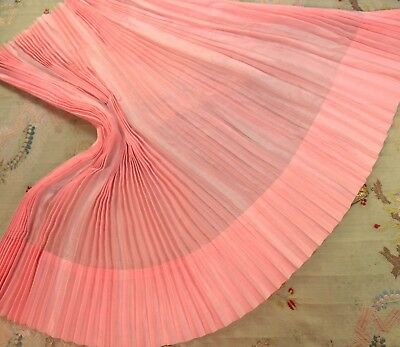 "Antique Silk Cotton Batiste Pleated Panel Rare French Doll Pink 50"" Sweep Fabric"