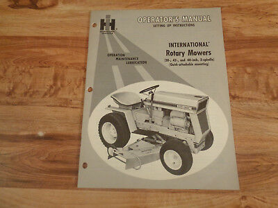VINTAGE 1960's IH Operator's Manual International Rotary Mowers Cub Cadet 124