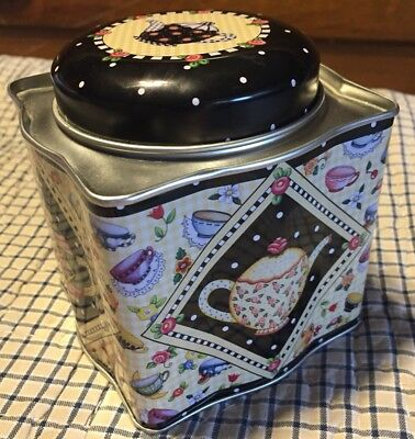 Mary Engelbreit Square Tin with Teapots Tea Cups Flowers and Cherries