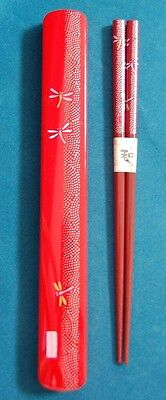 Black Japanese Travel Chopsticks with Case Dragonfly S-3689