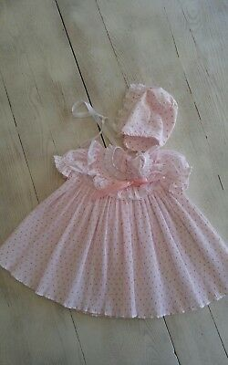 vintage Sears Baby  Girls pink floral Rosebud  Lace dress & Bonnet 3-6 mths