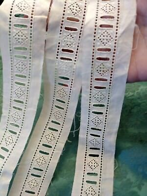 "1.5"" Embroidered trim lace vintage antique Slotted 2 yards"