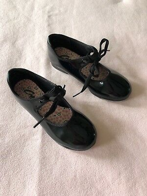 Capezio Girls Black Patent Leather Mary Jane Tap Dance Shoes Size 12M GUC!