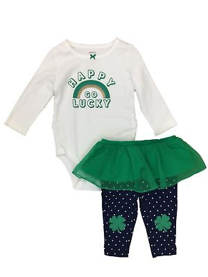 ea7333c81 Carters Infant Girls St Patricks Day Outfit Happy Go Lucky Bodysuit & Pants