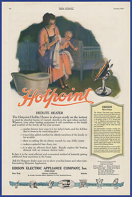 Vintage 1920 HOTPOINT Hedlite Heater Appliance Edison Electric Print Ad 20's