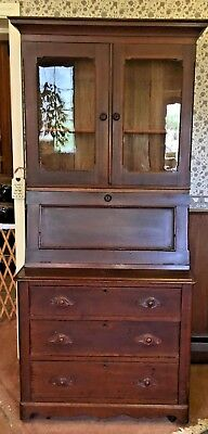 Antique Slant Secretary Desk w/ Glass Door Bookshelf & Working Locks - 1900s?
