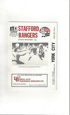 Stafford Rangers v York City FA Cup Football Programme 1981/82
