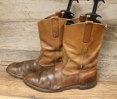 RED WING VINTAGE 1970s MENS BROWN LEATHER PULL ON ROPER WORK BOOT SZ 11.5