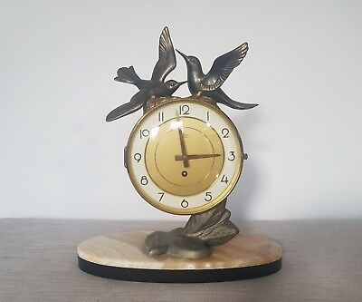 French Art Deco Silvoz Paris Marble Based Mantle Clock with Spelter Birds