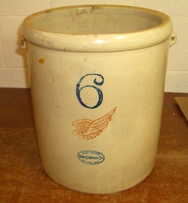 Antique Vintage 6 Gallon Red Wing Union Stoneware Crock
