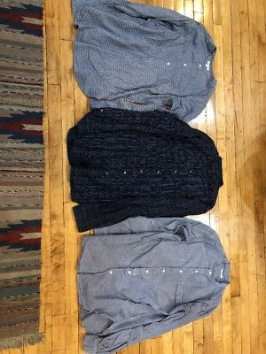 Engineeered Garments Lot Of 3 Band Collar Shirts Size L