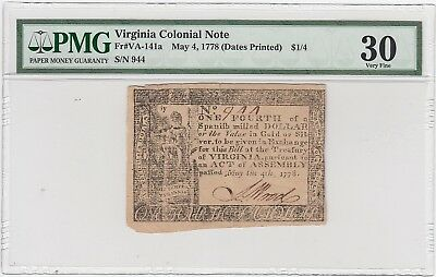 Virginia Colonial Currency Fr#VA-141a May 4, 1778 $1/4 (PMG 30 Very Fine) A2863