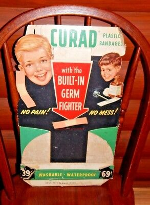VINTAGE Curad Bandages Cardboard Fold-Out Pharmacy Display Sign Band-Aid Health