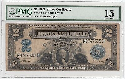 1899 Silver Certificate $2 Porthole Fr#258 (PMG 15 Choice Fine) Large Note A3964