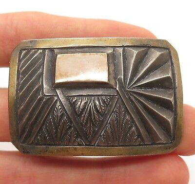 Southwestern Old Pawn  Sterling Silver Etched Textured Tribal Belt Buckle