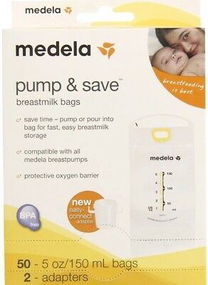 2 BOXES Brand New Medela Pump and Save Breast Milk Bags 50 Count