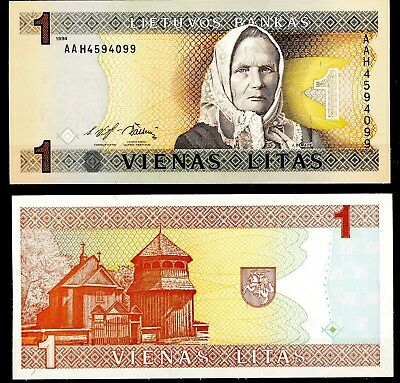 LITHUANIA 1 Litasi - AA Series 1994 Crisp Uncirculated Banknote P-53