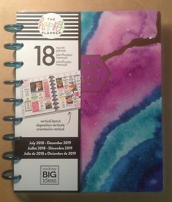 "NEW DESIGN 2018-2019 Happy Planner CLASSIC ""AGATE"" 18-Month VERTICAL"
