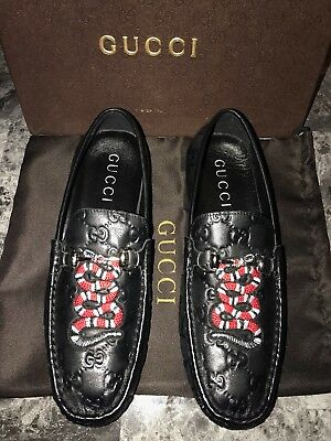 Gucci Men's Black Patent Leather Snake Embroidered Loafers US Size 9.5 Shoes