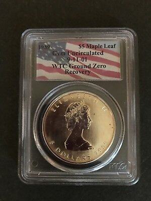 1989 Canada Silver Maple Leaf $5 9-11-01 Wtc Ground Zero Recovery Gem Unc Pcgs