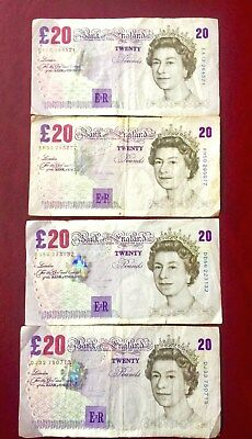 £80 Face Great Britain Bank of England 20 Pounds Banknotes Year 1999