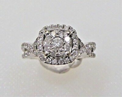 Valuation $5100 14ct W G  Halo Diamond ring with 1.15TCW Size O